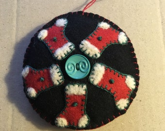 Little Stockings Appliqued On Black Felted Wool Fabric With Lovely Green Button