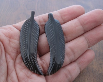 Pair  of intricately Hand Carved buffalo  horn leaves ,  Feather pendant  ,  Drilled ,  supplies for jewelry S7322