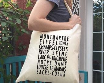 Paris Tote Bag - Bus Roll - typography style tote - Parisian neighbourhoods