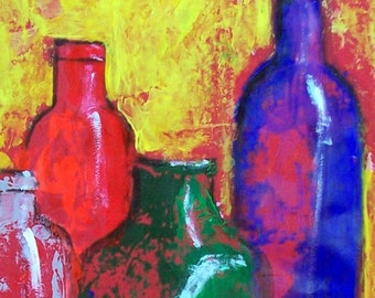 Original abstract in red painting with tequila bottles impressionistic art original acrylic for modern and hacienda home decor