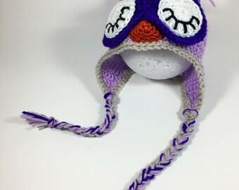 Crochet Owl Beanie in Purple