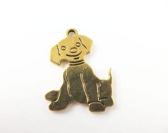 5 Gold tone puppy charms