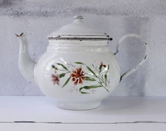 French Vintage LARGE Enamel Tea Pot....White Enamel with Pink Carnations Decoration Both Sides....Lovely Patina...RARE