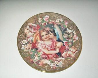 Vintage Dearest Kiss Collectible Plate Romantic Victorian Keepsakes John Grossman Angels Cherubs