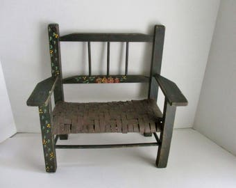 Vintage Doll Chair Straight Back Bench Style Hand Painted Black Woven Seat Pumpkin Design