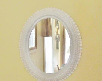 Vintage Mirror White Milk Glass Hobnail Look Burwood Industries