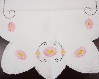 VINTAGE Linen Runner Large Embroidered Flowers 16 1/2 x 38 inches