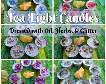 Tealight Candles Dressed with Essential Oil, Herbs, & Glitter - Pack of Eight