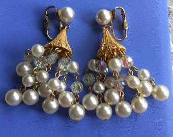 Vintage Sparkly Pearl Chandelier Earrings
