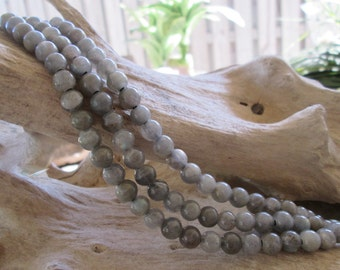 Big Hole Labradorite Gemstone Bead 8MM Round with 2.5 mm Large Hole Fit Leather 12 beads