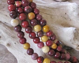 Large Hole Bead 12 MM Mookaite Jasper Colorful Round Gemstone 4 MM Big Hole Red Yellow Cream Gray 18 Beads