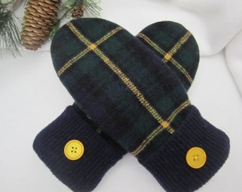 Women's lambswool mittens  size small Black watch plaid fleece-lined casual or dress ready to ship
