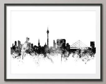 Düsseldorf Skyline, Düsseldorf Germany Cityscape Art Print (2829)