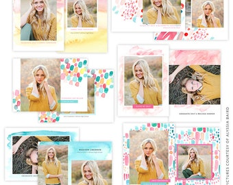 INSTANT DOWNLOAD - Graduation Announcement Bundle - Photoshop Templates - E1481