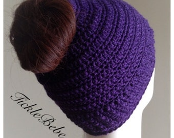 Adult and Child Sizes - Messy Hair Ponytail Hat - Bun Hat - Runner Hat - Purple - Handmade - Crochet