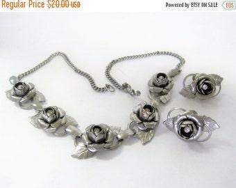 Silver Rose Necklace Set - Rhinestone Centered - Garden Party Choker