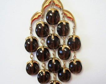 Crown Trifari Waterfall Necklace - Tortoiseshell Lucite Vintage - 70's Root Beer Necklace