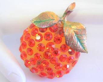 Forbidden Fruit Pin -  Orange Lucite Rhinestone -  Green Enamel Leaf  - Collectible 60's Pin
