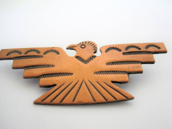Native American Copper Thunderbird -  Vintage Stamped Symbols - Enamel on Copper Brooch