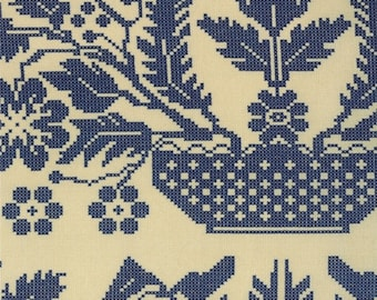 20% Off Sale Nature's Basket Coverlet Navy by Blackbird Designs for Moda - One Yard - 2720 11