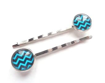 Chevrons Hair Pins, Herringbone Hair Pins, Turquoise Hair Pins, Black Hair Pins, Girl Hair Pins, Hair Pins For Girl, Hair Pins For Woman