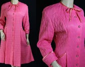 50s Lyn Delle Quilted Robe, Pink Lingerie, Old Hollywood, Nipped Waist, Rhinestone Buttons