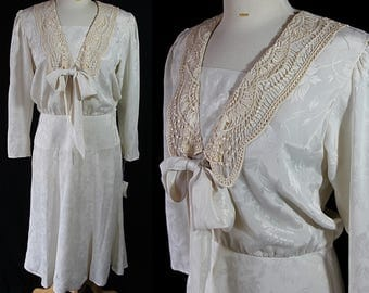 80s Does 20s Nilani Dress Ecru Lace Vintage Wedding Costume Reenactment