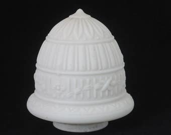 Vintage Art Deco Milk Glass White Glass Shade Ceiling Light Fixture Pendant