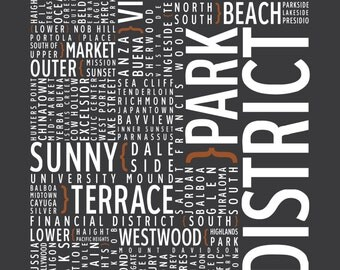 San Francisco, California Neighborhoods - Typography Print