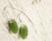 Reserved for M - ON SALE Green Jade Oval Drop Earrings - Sterling Silver - Emerald Green