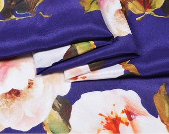 """Crepe de Chine silk fabric, floral printing in purple,  45"""" 12m/m, elegant silk Fabric for Dresses, shirts, blouse, by the yard"""