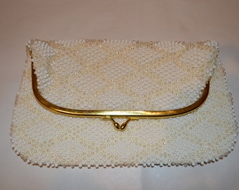 Vintage beaded Handbag 1950s Lumured Corde Bead White and Clear w/ gold tone