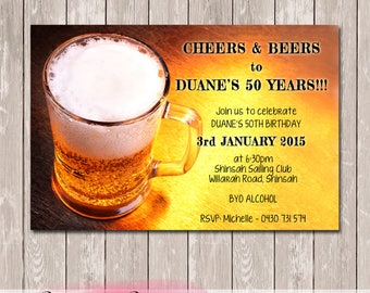 Beer Glass Personalised Birthday Invitation - YOU PRINT