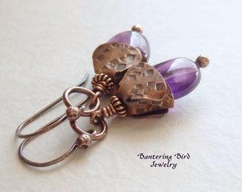 Purple Amethyst Earrings with Unusual Handmade Hammered Copper Petal Caps, Unusual Gemstone Drop Earrings Unique Artisan Copper Jewelry
