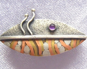 SALE Modernist Abstract Brooch.  Vintage Artisan Signed Piece.  Oxidized Silver, Brass & Copper with Amethyst Cabochon.  A Fish Perhaps?