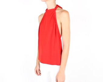 SALE - 90s Chic + Minimal Bright Red High Halter Neck + Low Back Crop Top / Tank