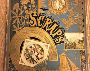 Antique Victorian Scrapbook filled with ephemera, scraps, advertising cards, Victorian calling cards, seed catalogs etc.