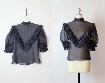 vintage sheer organza blouse / 1980s sheer ruffle blouse / navy blue mandarin collar blouse/ statement blouse / button back top