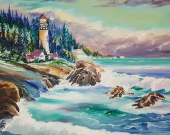 Lighthouse Cove on Turquoise Bay, Oregon Art, Lighthouse Keepers House, Pacific Ocean Cove, lavender Mint Sky, Original Oil Dan Leasure