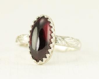 Sterling Garnet Ring - Oval Garnet Ring - Ready to Ship Size 7.25 - Sample Sale