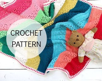 Crochet Blanket Pattern - Isak's Blanket - UK and US terms - PDF file - crochet pattern, baby blanket