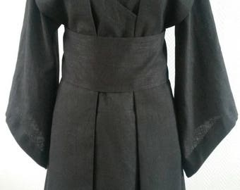 MADE TO ORDER:  black linen Star Wars inspired Jedi/sith robe, tunic, wrapdress costume cosplay larp pagan  pixie