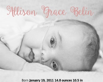 Preemie Birth Announcement PRINTABLE Custom
