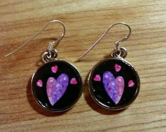 Heart Quilt Photographic Earrings