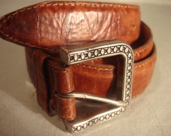 Vintage 1980s Brown Tan Distressed Leather Belt with Square Ornate Buckle Unisex