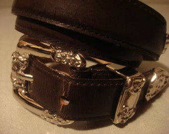 Vintage 1980s Boho Chic Dark Chocolate Brown Genuine Distressed Concho Leather Belt With Ornate Silver Details
