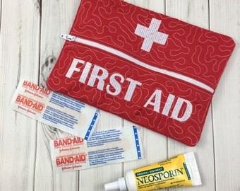 First Aid Bag, Medical Bag, Gift Idea, Travel Bag, First Aid Pouch, Zippered Pouch, First Aid Bag - Red/White