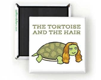 Cute Funny Magnet; Tortoise and the Hare; Comic Art; Turtles; Tortoise; Aesops Fable; Gift For Hair Stylist; Turtle Lover; Tortoise Lover