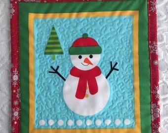 Christmas Mug Rug - Placemat - Snowman - Blue - Red