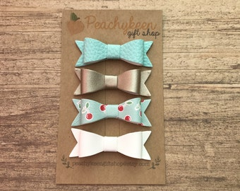 Faux Leather Baby Bow Clips - Choose your colors & ribbon!!